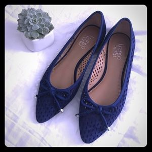 Franco Sarto royal blue perforated suede flats 7.5